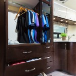 wardrobe in a luxury rv Luxe RV